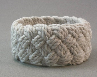 soft cord white turks head bracelet hand knotted rope bracelet nautical bracelet made to order sizes 4101