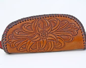 Vintage Hand Tooled Leather Coin Purse