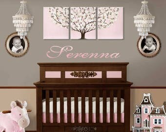 Nursery Canvas Wall Art Painting for Baby Girl on Large Triptych - Textured Tree in Pink and Brown - 50x20