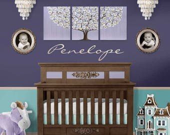 Nursery Wall Art Trio Painting on Canvas - Large Purple Tree for Baby Girl -  50x20