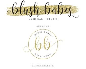 Gold Logo Gold Glitter Logo Lash Logo Makeup Logo Branding Package Photography Logo Photography Watermark Eyelash Bar Eyelash Extensions