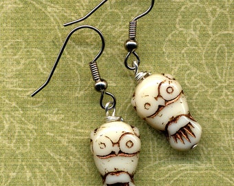 Owl Earrings, LAST pain in this style Off White Owls with Cooper Inlay Earrings, Woodland Best Earrings, Handmade Jewelry by AnnaArt72