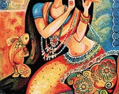 Mermaid painting, girl and sea, mermaid art, dancing girl, folk art, mermaid illustration print 8x11+