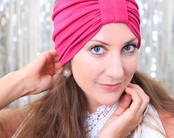 Turban Headband - Women's Hair Band in Fuchsia Jersey Knit - Boho Style Wide Headbands - Lots of Colors