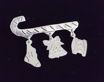Vintage Christmas Brooch- Sterling Silver Brooch- Candy Cane Pin with Stocking Charm, Bell Charm & Drum Charms- 925 Silver Metal Mexico