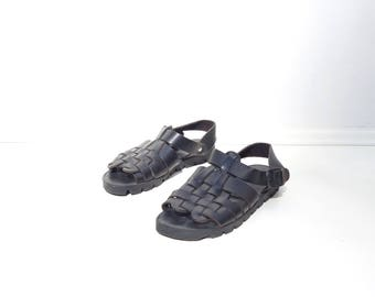Black Leather Sandal Gladiator Sandal Fisherman Sandal Made in Italy Huarache Sandal Rubber Tread Buckle Sandal Women US 5 6 EU 35 36 UK 3