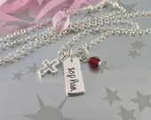 Personalized Hand Stamped First Holy Communion Necklace in Sterling Silver with Tiny Open Cross and Birthstone of Swarovski Crystal.
