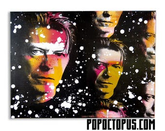 David Bowie Screenprinted and Painted 18x24 Wall Art