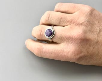 Adjustable Ring Everyday Ring Purple Ring Open Ring Charoite Ring Silver Rings for Women Round Stone Ring Gifts for Her