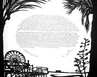Santa Monica Pier Ketubah - Silhouette - calligraphy - black and white