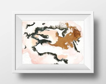 """pink, gold and black small original abstract painting """"Rose all Day"""" by Jules Tillman. Modern, minimal contemporary art. watercolor art"""