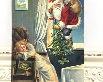 Vintage Christmas Postcard, Vintage Postcard, Santa Postcard, Christmas Card, Christmas Ephemera, Santa Climbing in a Window, Sleeping Child