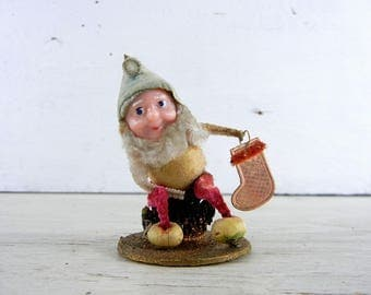 Vintage Christmas Pine Cone Pixie | Spun Cotton Pinecone Elf Gnome | Made in Japan