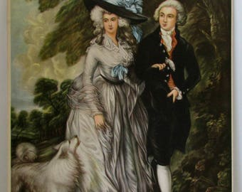 Vintage Print Colonial Couple with Dog Picture Victorian Couple Unframed