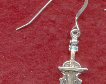 Sterling Silver Cello Earring, One only, Music Jewelry, cello jewellery