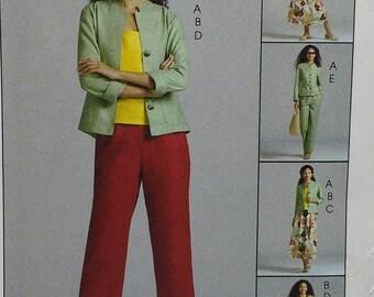 Casual Dress Misses Jacket Top Skirt and Pants Pattern Mccalls M4878 Misses Size 8 10 12 14 Uncut Pattern