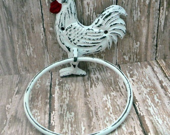Rooster Cast Iron Classic White Red Detail Shabby Chic Hand Towel Ring