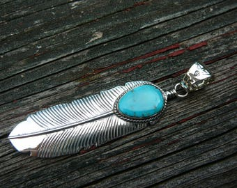 Sterling Silver Feather Pendant Turquoise