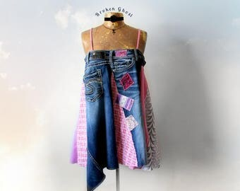 Upcycled Top Summer Dress Long Denim Tank Hippie Clothes Peasant Shirt Women's Clothing Art to Wear Swing Top Pink Boho Sundress XL 'ROXANNE