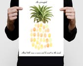 pineapple fingerprint guest book girls baby shower or birthday print - tropical fruit illustration, inspirational saying, summer nursery art