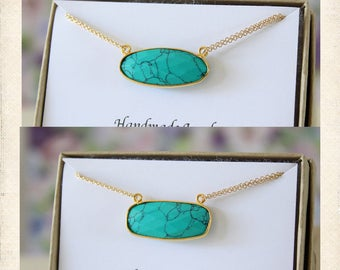 Turquoise Oval Necklace, Green Turquoise Necklace, Pendant, Sideways Gemstone, Gold, Double Chain