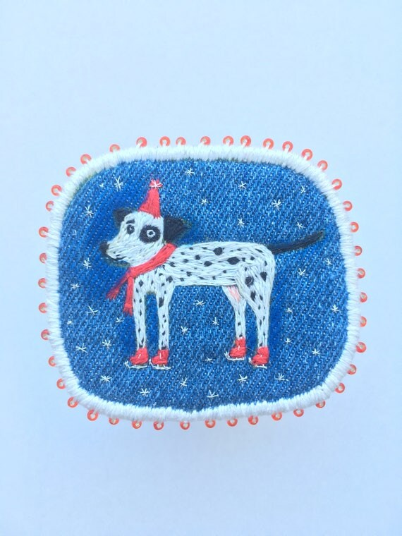 Christmas brooch with Dalmatian on Ice Skates- Funny Dogs - collection, hand embroidered textile dog jewelry. Terrier brooch.