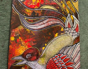 "Original ""Flight of Fancy"" Fantasy Bird / Phoenix Painting by Lynnette Shelley"