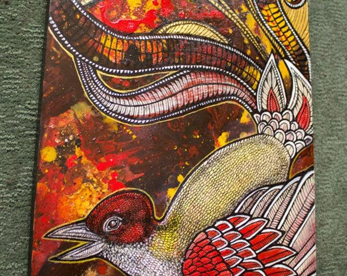 """Original """"Flight of Fancy"""" Fantasy Bird / Phoenix Painting by Lynnette Shelley"""