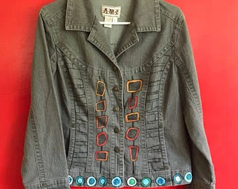 One of a kind, Light-weight, hand-painted denim jacket
