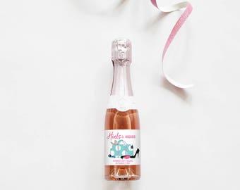 Heels and Huggies // Mini Champagne Bottle Labels //  Custom Wine Labels // Wedding, Bridal Shower or Bachelorette Party