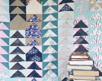 FLYING HOME quilt, lap size, geometric designs, flying geese quilt, READY to ship