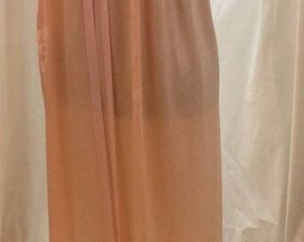 1930's, pure silk satin, peach colored  nightgown