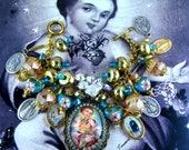 Catholic Child Sacred Heart of Jesus, Saints Religious Medals Handmade Charm Bracelet
