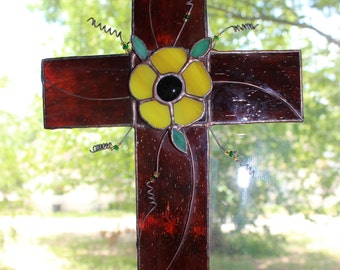 Cross brown stained glass yellow flower