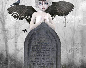 Angel Art Print - Angel And Tombstone - Digital/Mixed Media Art - A4 Art Print - Fallen Angel