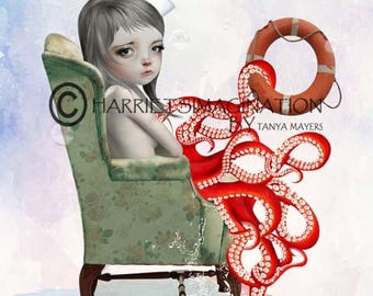 Octopus Girl Art Print - A4 Print - Forever Blowing Bubbles