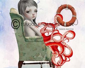 Octopus Girl Art Print - Nautical Girl Art - A4 Art Print - Forever Blowing Bubbles
