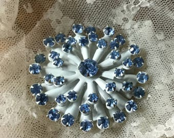 Whimsical White Enamel Blue Rhinestone Flower Snowflake Brooch Pin Unsigned Cerulean Blue Prong Set 1960's 1970's