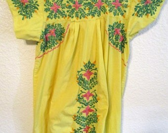 Vintage Gusmar Embroidered Mexican Maxi Dress Oaxacan Peasant Yellow Boho Long Embroidery