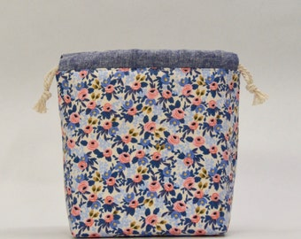 Rosa Periwinkle Small Drawstring Knitting Project Craft Bag - READY TO SHIP