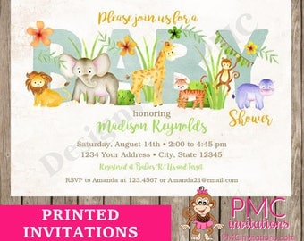Custom Printed Jungle, Watercolor, Wild Animals, Safari, Boy or Girl, Baby Shower Invitations - 1.00 each with envelope
