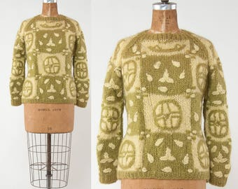 Vintage 1960s Mohair Sweater, Olive Green Wool Knit Pullover,Embroidered Sweater, Fuzzy Sweater, Made in Italy, Boho Sweater, Apres Ski