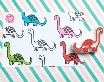 dinosaur rubber stamp. dino stamp. apatosaurus hand carved stamp. diy party favors invites. gift for kids. handmade by talktothesun