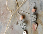 fire and ice - bohemian assemblage earrings of vintage frosted quartz, carved peach agate and mother of pearl spears - sterling silver hooks