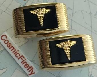 Men's Vintage Cufflinks Doctor Cufflinks Medical Cufflinks Men's Cufflinks Antique Cufflinks Caduceus Cufflinks