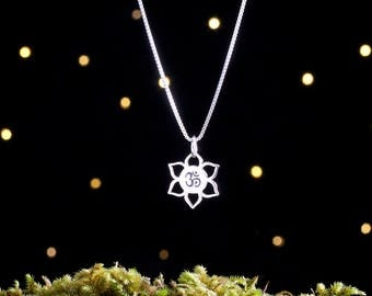 Sterling Silver Lotus Flower and Om - (Charm, Necklace, or Earrings)