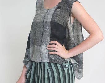 the satis tunic tank -- vintage 80s oversized weave roomy tank S/M/L