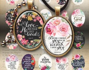 30x40 mm OVAL BIBLE VERSES #1 Printable digital instant download for pendants, bezels, craft projects, downloadable images, ArtCult designs