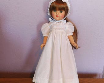 "Vintage Doll Clothes White Nightgown and Baby Bonnet for Ideal Toni P-90 14"" - White Dotted Swiss, Eyelet Lace - 1950s Era - Mid-Century"