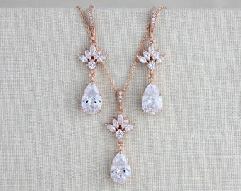 Bridal jewelry set, Rose gold jewelry, Rose gold earrings, Rose gold necklace, CZ necklace, Bridesmaid jewelry set, Wedding jewelry, EMMA